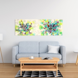 Canvas 16 x 48 - Abstract squares flowers