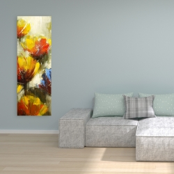Canvas 16 x 48 - Texturized yellow flowers