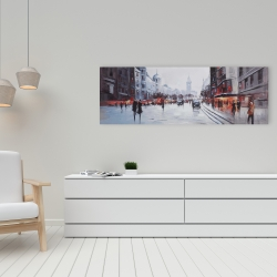 Canvas 16 x 48 - Street scene with cars