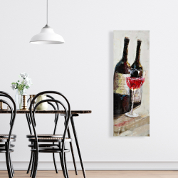 Canvas 16 x 48 - Two bottles with a glass of wine