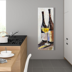 Canvas 16 x 48 - Two bottles with a glass of white wine