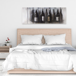 Canvas 16 x 48 - Bottles of wine with wood finish
