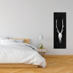 Canvas 16 x 48 - Deer skull on black background
