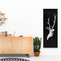 Canvas 16 x 48 - Deer skull in the dark