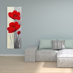 Canvas 16 x 48 - Red flowers on a gray background