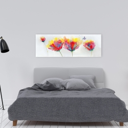 Canvas 16 x 48 - Colorful flowers with a butterfly