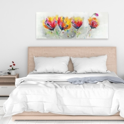 Canvas 16 x 48 - Four colored flowers on gray background