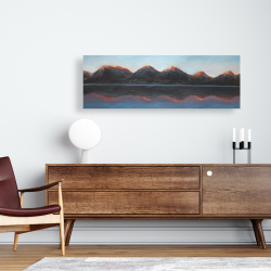 Canvas 16 x 48 - Mountains and calm lake