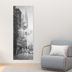 Canvas 16 x 48 - Morning in the streets of new-york city monochrome