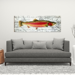 Canvas 16 x 48 - Pink trout on a map
