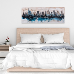 Canvas 16 x 48 - Abstract city with reflection on water
