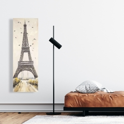 Canvas 16 x 48 - Eiffel tower with flying birds