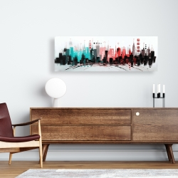 Canvas 16 x 48 - Cityscape with rose gold colors