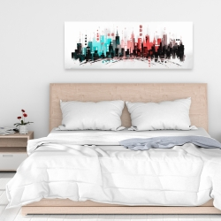 Canvas 16 x 48 - Colorful city with rose gold lines