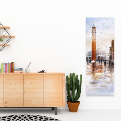 Canvas 16 x 48 - City sketch with a tower