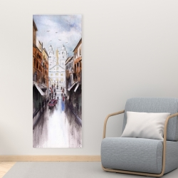 Canvas 16 x 48 - Watercolor style busy street