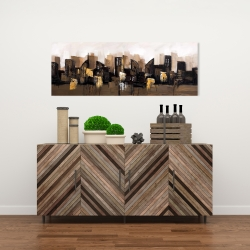 Canvas 16 x 48 - Brown abstract cityscape