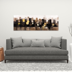 Canvas 16 x 48 - Earthy tones abstract cityscape