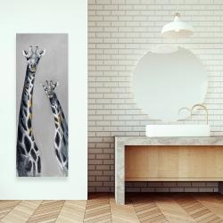Canvas 16 x 48 - Steel blue giraffe