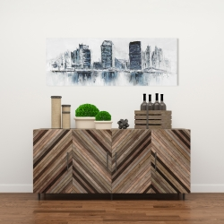 Canvas 16 x 48 - Texturized blue colors cityscape
