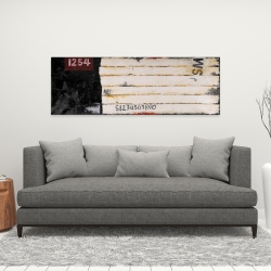 Canvas 16 x 48 - Wooden pallets looking art with numbers