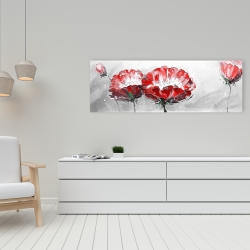 Canvas 16 x 48 - Two wild flowers on gray background