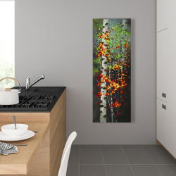 Canvas 16 x 48 - Colorful dotted leaves birches