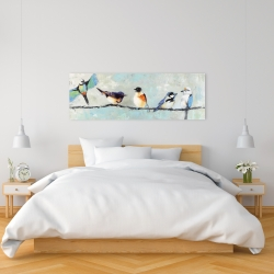 Canvas 16 x 48 - Small colorful birds