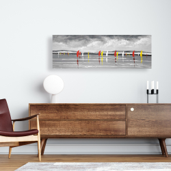 Canvas 16 x 48 - Sailboats on the lake
