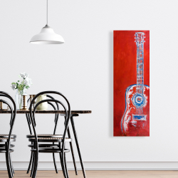 Canvas 16 x 48 - Modern red abstract guitar