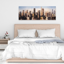 Canvas 16 x 48 - Striped abstract buildings