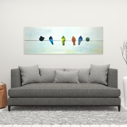 Canvas 16 x 48 - Perched abstract birds