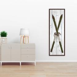 Canvas 16 x 48 - Green vintage skis