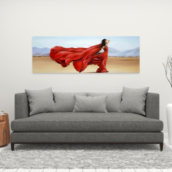 Canvas 16 x 48 - Red dress in the desert