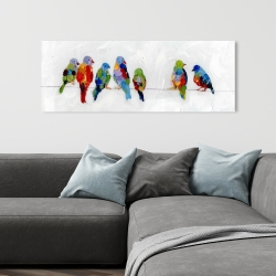 Canvas 16 x 48 - Colorful birds on a wire