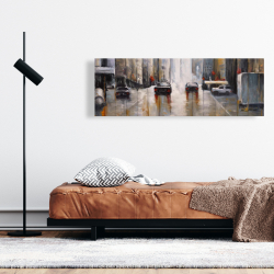 Canvas 16 x 48 - Cars in the morning rain