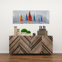 Canvas 16 x 48 - Colorful boats near a gray city