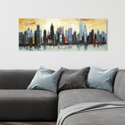 Canvas 16 x 48 - Skyline on abstract cityscape