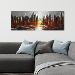 Canvas 16 x 48 - Abstract red skyline