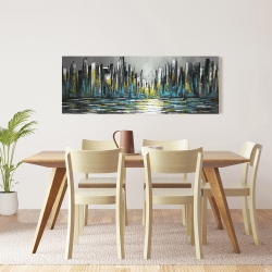 Canvas 16 x 48 - Abstract blue skyline