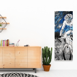 Canvas 16 x 48 - Professional blue cyclist