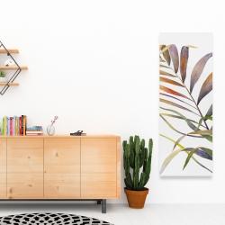 Toile 16 x 48 - Feuilles de palmiers tropicaux à l'aquarelle