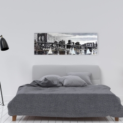 Canvas 16 x 48 - Brooklyn bridge with sailboats