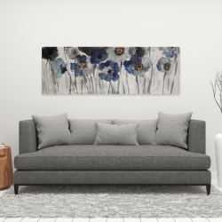 Canvas 16 x 48 - Blue blurry flowers