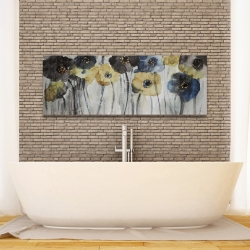 Canvas 16 x 48 - Gray blue and yellow flowers
