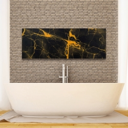 Canvas 16 x 48 - Black and gold marble texture