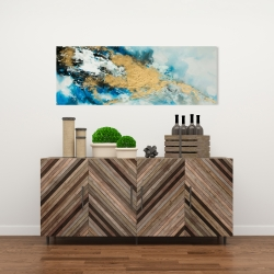 Canvas 16 x 48 - Blue and gold marble