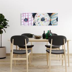 Canvas 16 x 48 - Watercolor delicious looking doughtnuts