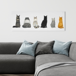 Canvas 16 x 48 - Six cats lined up back view