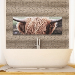 Canvas 16 x 48 - Desaturated highland cow